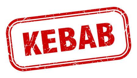 kebab stamp. kebab square grunge red sign Foto de archivo - 137960062