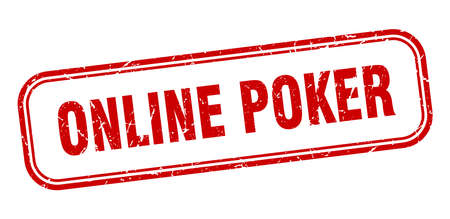 online poker stamp. online poker square grunge red sign Foto de archivo - 137960065
