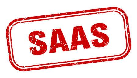 saas stamp. saas square grunge red sign Foto de archivo - 137957680