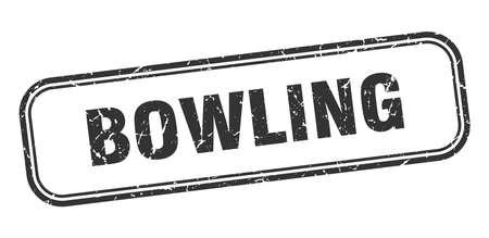 bowling stamp. bowling square grunge black sign Foto de archivo - 137960079