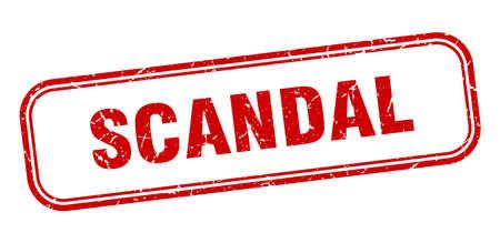 timbre de scandale. panneau rouge grunge carré scandale Vecteurs