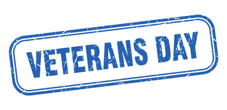 veterans day stamp. veterans day square grunge blue sign Foto de archivo - 137960115