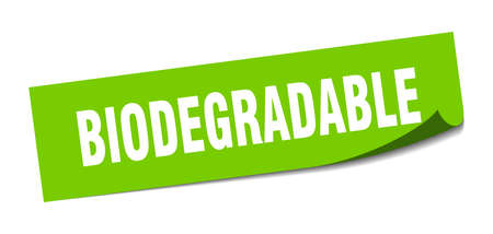 biodegradable sticker. biodegradable square sign. biodegradable. peeler Vettoriali