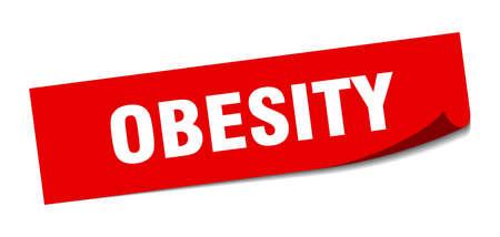 obesity sticker. obesity square sign. obesity. peeler Stok Fotoğraf - 138470623