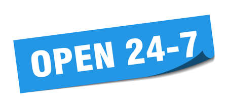 open 24 7 sticker. open 24 7 square sign. open 24 7. peeler
