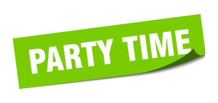 party time sticker. party time square sign. party time. peeler