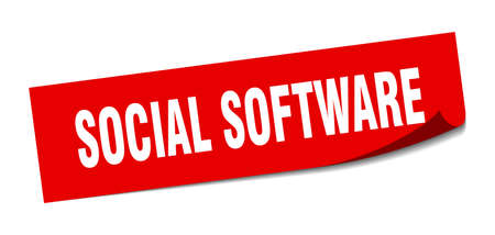 social software sticker. social software square sign. social software. peeler
