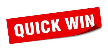 quick win sticker. quick win square sign. quick win. peeler
