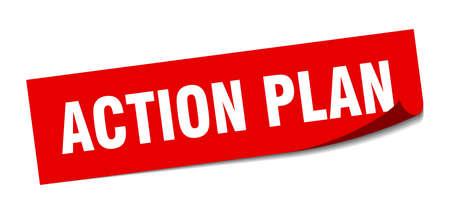 action plan sticker. action plan square sign. action plan. peeler
