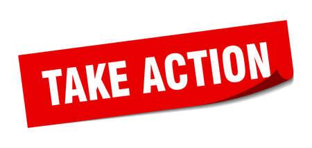 take action sticker. take action square sign. take action. peeler
