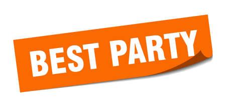 best party sticker. best party square sign. best party. peeler Reklamní fotografie - 138473112