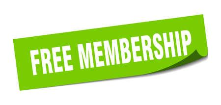 free membership sticker. free membership square sign. free membership. peeler