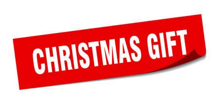christmas gift sticker. christmas gift square sign. christmas gift. peeler Standard-Bild - 138473884
