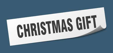 christmas gift sticker. christmas gift square sign. christmas gift. peeler Standard-Bild - 138474031