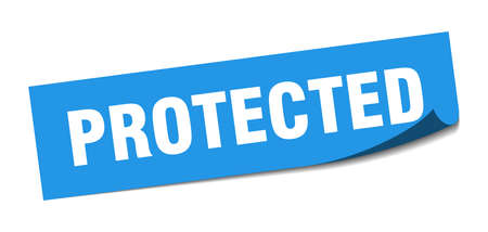 protected sticker. protected square sign. protected. peeler