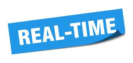 real-time sticker. real-time square sign. real-time. peeler