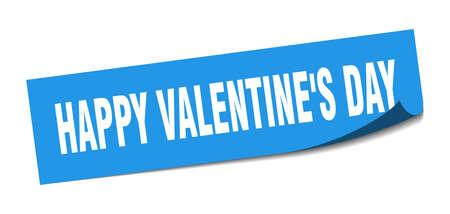 happy Valentines day sticker. happy Valentines day square sign. happy Valentines day. peeler Illusztráció