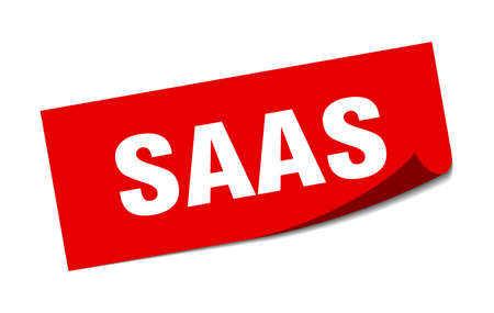 saas sticker. saas square sign. saas. peeler Ilustracja