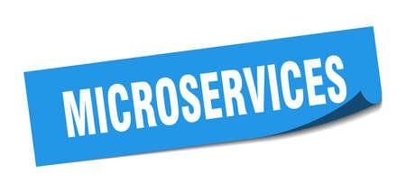 microservices sticker. microservices square sign. microservices. peeler Illusztráció