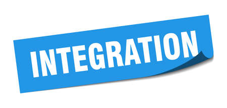 integration sticker. integration square sign. integration. peeler