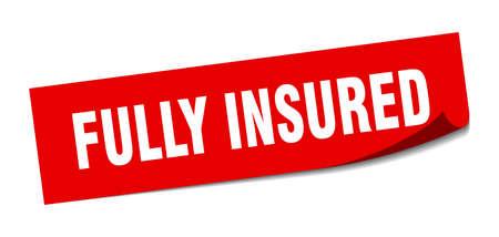 fully insured sticker. fully insured square sign. fully insured. peeler Illustration