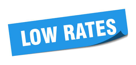 low rates sticker. low rates square sign. low rates. peeler