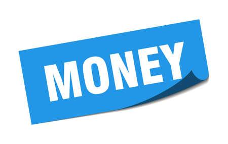 money sticker. money square sign. money. peeler Illusztráció