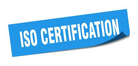 iso certification sticker. iso certification square sign. iso certification. peeler Illusztráció