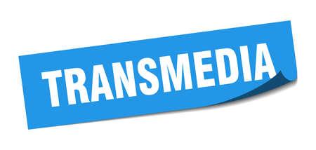 transmedia sticker. transmedia square sign. transmedia. peeler