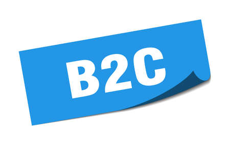 b2c sticker. b2c square sign. b2c. peeler Illusztráció