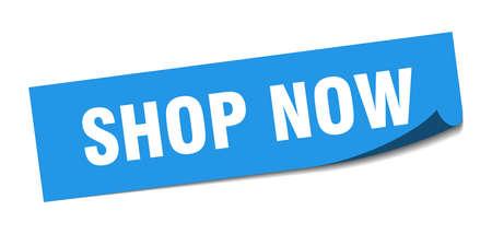 shop now sticker. shop now square sign. shop now. peeler
