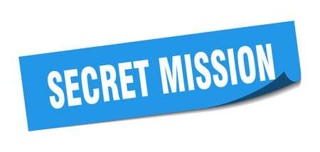 secret mission sticker. secret mission square sign. secret mission. peeler