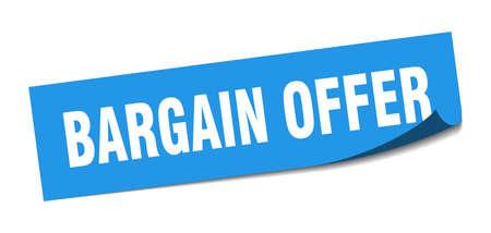 bargain offer sticker. bargain offer square sign. bargain offer. peeler