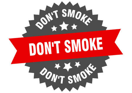 don't smoke sign. don't smoke circular band label. round don't smoke sticker
