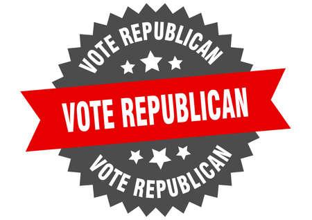 vote republican sign. vote republican circular band label. round vote republican sticker Vecteurs