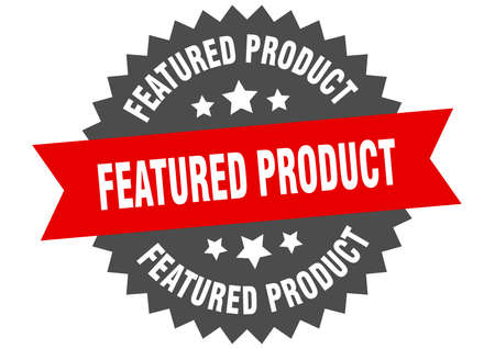 featured product sign. featured product circular band label. round featured product sticker