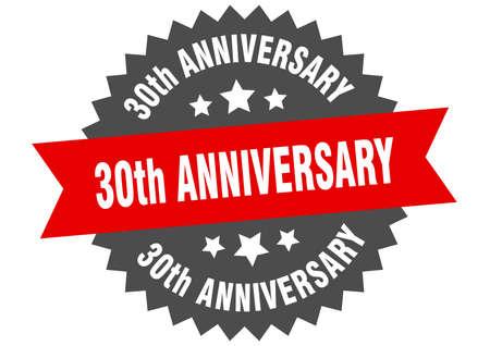30th anniversary sign. 30th anniversary circular band label. round 30th anniversary sticker Ilustração