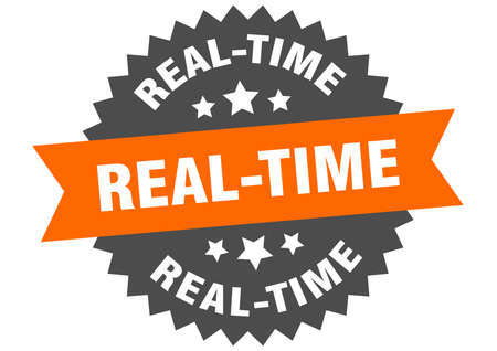 real-time sign. real-time circular band label. round real-time sticker Ilustracja