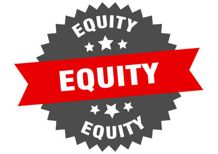 equity sign. equity circular band label. round equity sticker