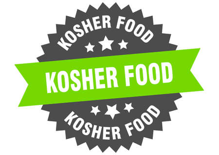 kosher food sign. kosher food circular band label. round kosher food sticker Stock Vector - 138662854