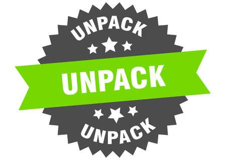 unpack sign. unpack circular band label. round unpack sticker Illustration