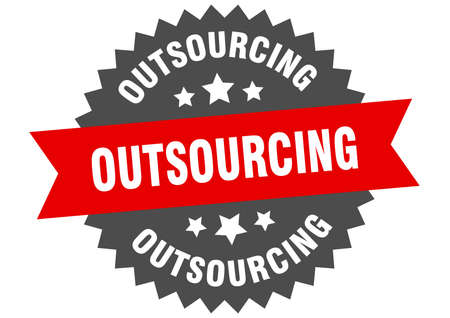outsourcing sign. outsourcing circular band label. round outsourcing sticker