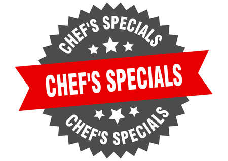 chef's specials sign. chef's specials circular band label. round chef's specials sticker