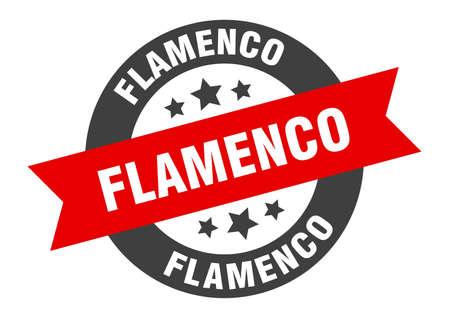 flamenco sign. flamenco round ribbon sticker. flamenco tag
