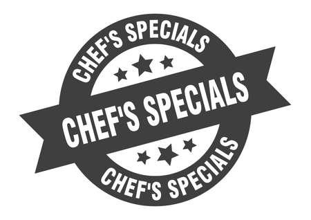 chef's specials sign. chef's specials round ribbon sticker. chef's specials tag