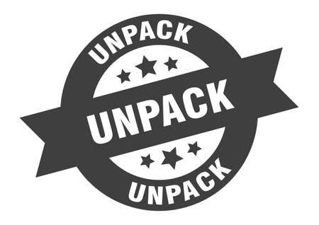 unpack sign. unpack round ribbon sticker. unpack tag Illustration
