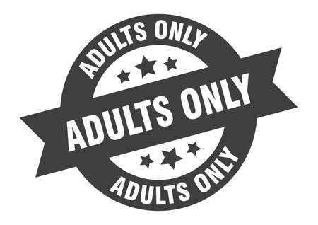 adults only sign. adults only round ribbon sticker. adults only tag
