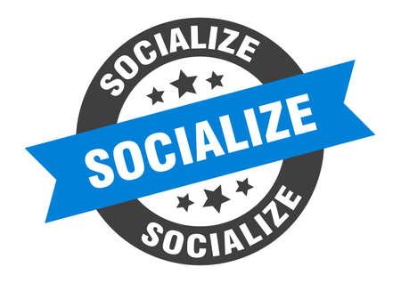 socialize sign. socialize round ribbon sticker. socialize tag Archivio Fotografico - 139016983