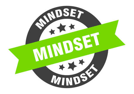 mindset sign. mindset round ribbon sticker. mindset tag