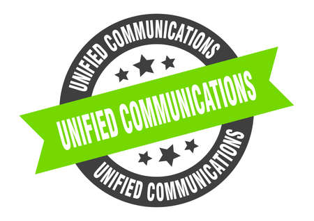 unified communications sign. unified communications round ribbon sticker. unified communications tag